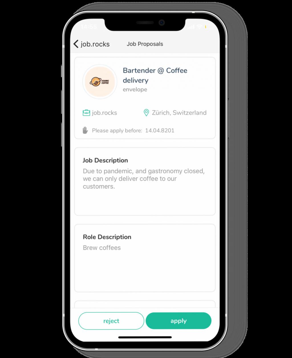 jobangebot auf mobile app mit job.rocks