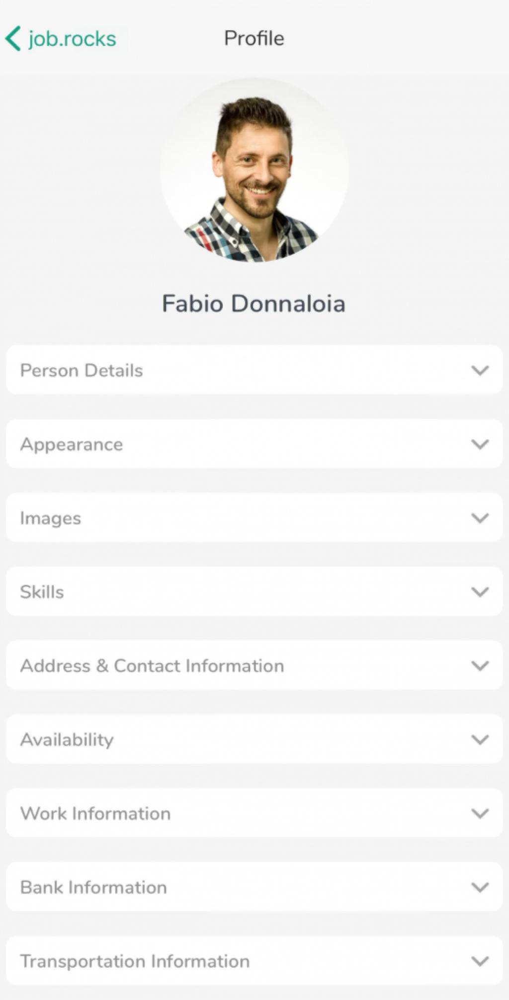 profil einrichten und anzeigen auf app job.rocks