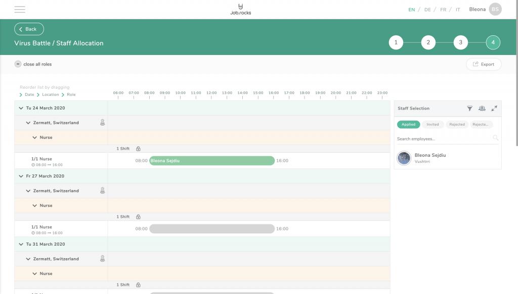 Personalzuteilung in der job.rocks Webapp